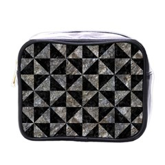 Triangle1 Black Marble & Gray Stone Mini Toiletries Bags by trendistuff
