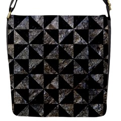 Triangle1 Black Marble & Gray Stone Flap Messenger Bag (s) by trendistuff