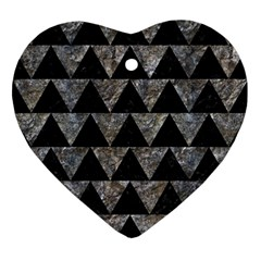 Triangle2 Black Marble & Gray Stone Ornament (heart) by trendistuff