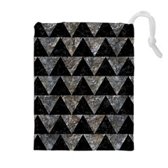 Triangle2 Black Marble & Gray Stone Drawstring Pouches (extra Large) by trendistuff