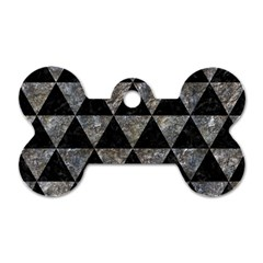 Triangle3 Black Marble & Gray Stone Dog Tag Bone (two Sides) by trendistuff