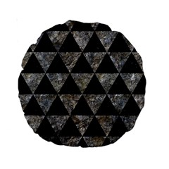 Triangle3 Black Marble & Gray Stone Standard 15  Premium Round Cushions by trendistuff