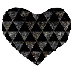 Triangle3 Black Marble & Gray Stone Large 19  Premium Flano Heart Shape Cushions by trendistuff