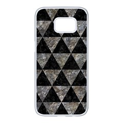 Triangle3 Black Marble & Gray Stone Samsung Galaxy S7 Edge White Seamless Case by trendistuff