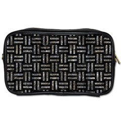 Woven1 Black Marble & Gray Stone Toiletries Bags by trendistuff
