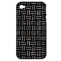 Woven1 Black Marble & Gray Stone Apple Iphone 4/4s Hardshell Case (pc+silicone)