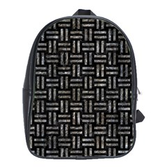 Woven1 Black Marble & Gray Stone School Bag (xl) by trendistuff