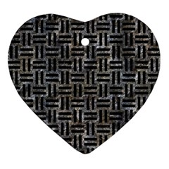 Woven1 Black Marble & Gray Stone (r) Ornament (heart) by trendistuff