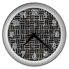 Woven1 Black Marble & Gray Stone (r) Wall Clocks (silver)  by trendistuff