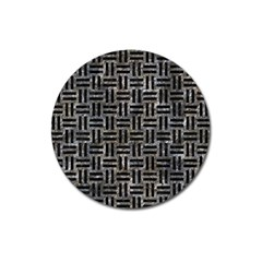 Woven1 Black Marble & Gray Stone (r) Magnet 3  (round) by trendistuff