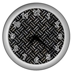 Woven2 Black Marble & Gray Stone Wall Clocks (silver)  by trendistuff