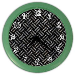 Woven2 Black Marble & Gray Stone Color Wall Clocks by trendistuff