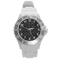 Woven2 Black Marble & Gray Stone Round Plastic Sport Watch (l) by trendistuff