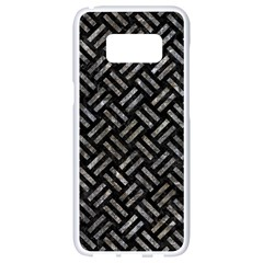 Woven2 Black Marble & Gray Stone Samsung Galaxy S8 White Seamless Case by trendistuff