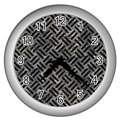 Woven2 Black Marble & Gray Stone (r) Wall Clocks (silver)  by trendistuff