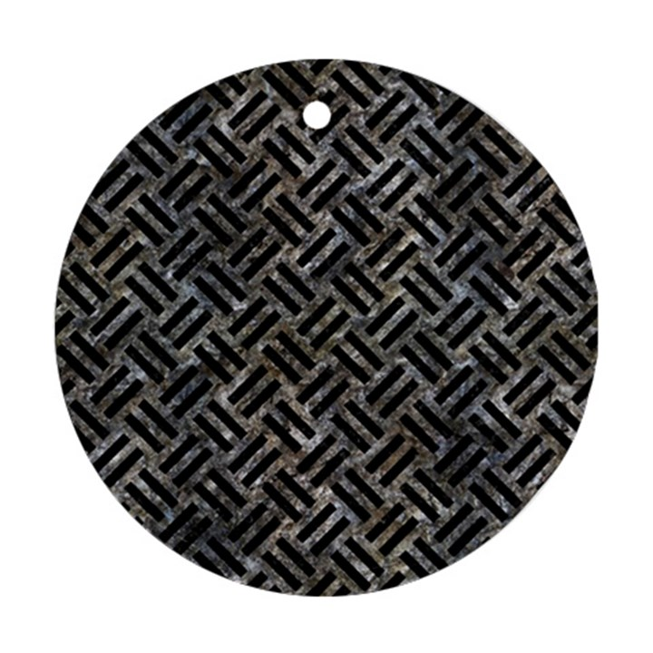 WOVEN2 BLACK MARBLE & GRAY STONE (R) Round Ornament (Two Sides)