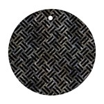 WOVEN2 BLACK MARBLE & GRAY STONE (R) Round Ornament (Two Sides) Back