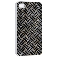 Woven2 Black Marble & Gray Stone (r) Apple Iphone 4/4s Seamless Case (white) by trendistuff