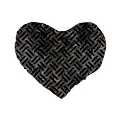 Woven2 Black Marble & Gray Stone (r) Standard 16  Premium Heart Shape Cushions by trendistuff