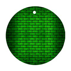 Brick1 Black Marble & Green Brushed Metal (r) Round Ornament (two Sides) by trendistuff