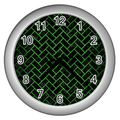 Brick2 Black Marble & Green Brushed Metal Wall Clocks (silver)  by trendistuff