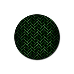 Brick2 Black Marble & Green Brushed Metal Rubber Coaster (round)  by trendistuff