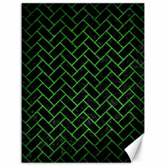 Brick2 Black Marble & Green Brushed Metal Canvas 12  X 16   by trendistuff