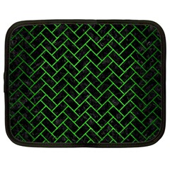 Brick2 Black Marble & Green Brushed Metal Netbook Case (large) by trendistuff