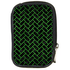 Brick2 Black Marble & Green Brushed Metal Compact Camera Cases by trendistuff