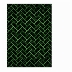 Brick2 Black Marble & Green Brushed Metal Large Garden Flag (two Sides) by trendistuff
