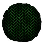 BRICK2 BLACK MARBLE & GREEN BRUSHED METAL Large 18  Premium Flano Round Cushions Front
