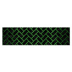 Brick2 Black Marble & Green Brushed Metal Satin Scarf (oblong) by trendistuff