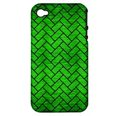 Brick2 Black Marble & Green Brushed Metal (r) Apple Iphone 4/4s Hardshell Case (pc+silicone) by trendistuff