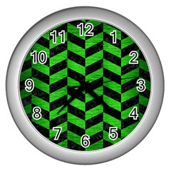 Chevron1 Black Marble & Green Brushed Metal Wall Clocks (silver)  by trendistuff