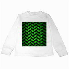 Chevron1 Black Marble & Green Brushed Metal Kids Long Sleeve T Shirts by trendistuff