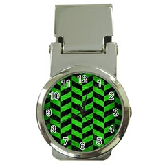 Chevron1 Black Marble & Green Brushed Metal Money Clip Watches by trendistuff