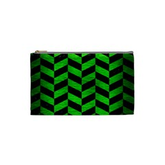 Chevron1 Black Marble & Green Brushed Metal Cosmetic Bag (small)  by trendistuff
