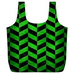 Chevron1 Black Marble & Green Brushed Metal Full Print Recycle Bags (l)  by trendistuff