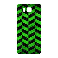 Chevron1 Black Marble & Green Brushed Metal Samsung Galaxy Alpha Hardshell Back Case by trendistuff