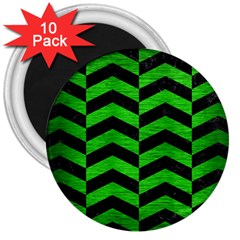Chevron2 Black Marble & Green Brushed Metal 3  Magnets (10 Pack)  by trendistuff