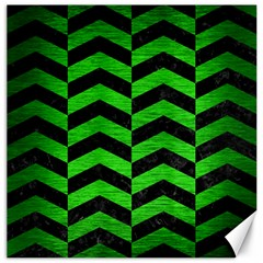 Chevron2 Black Marble & Green Brushed Metal Canvas 16  X 16