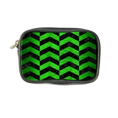 Chevron2 Black Marble & Green Brushed Metal Coin Purse by trendistuff