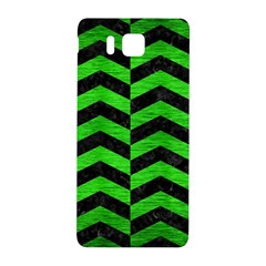Chevron2 Black Marble & Green Brushed Metal Samsung Galaxy Alpha Hardshell Back Case by trendistuff