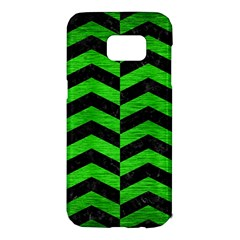 Chevron2 Black Marble & Green Brushed Metal Samsung Galaxy S7 Edge Hardshell Case by trendistuff