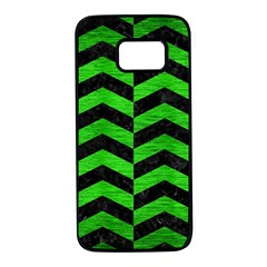 Chevron2 Black Marble & Green Brushed Metal Samsung Galaxy S7 Black Seamless Case by trendistuff