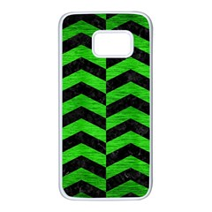 Chevron2 Black Marble & Green Brushed Metal Samsung Galaxy S7 White Seamless Case