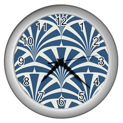 Teal,white,art Deco,pattern Wall Clocks (silver)  by 8fugoso