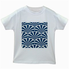 Teal,white,art Deco,pattern Kids White T Shirts by 8fugoso