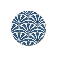 Teal,white,art Deco,pattern Magnet 3  (round) by 8fugoso