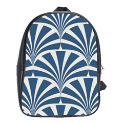 Teal,white,art Deco,pattern School Bag (large) by 8fugoso